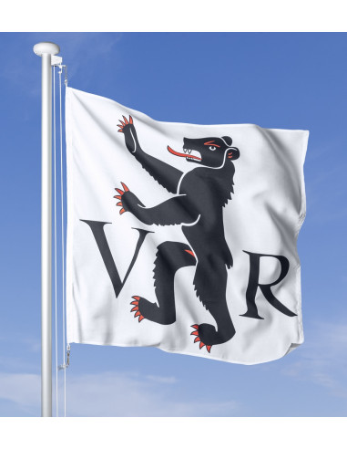 Bandiera Appenzello Esterno che sventola al vento sul pennone, cielo blu sullo sfondo