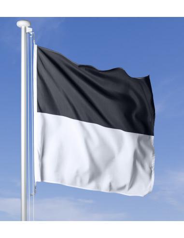 Drapeau fribourgeois flottant au vent sur le mât, ciel bleu en arrière-plan