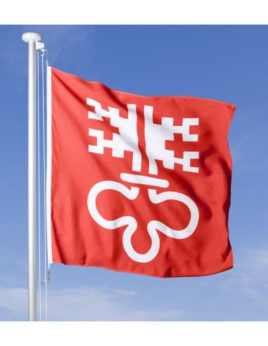 Bandiera Nidvaldo che sventola al vento sul pennone, cielo blu sullo sfondo