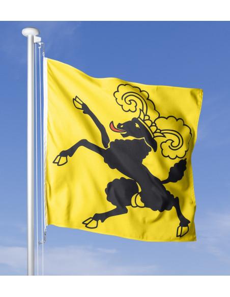 Schaffhauser Fahne im Wind wehend am Fahnen-Mast, im Hintergrund blauer Himmel