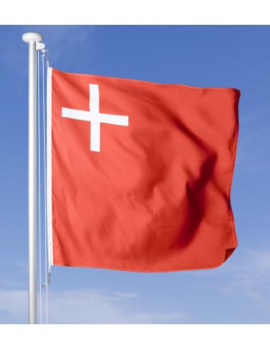 Schwyzer Fahne im Wind wehend am Fahnen-Mast, im Hintergrund blauer Himmel