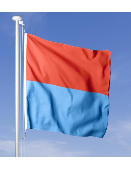 Bandiera ticinese che sventola al vento sul pennone, cielo blu sullo sfondo