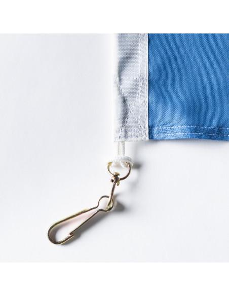 Tissu bleu du drapeau tessinois classique avec double coin cousu, mousquetons inclus