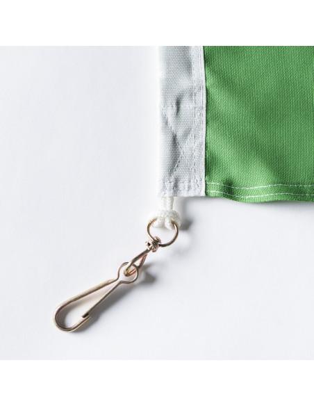 Tissu vert du drapeau vaudois classique avec double coin cousu, mousquetons inclus