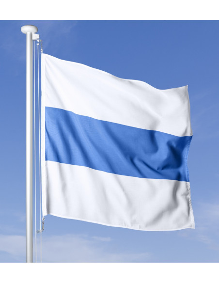 Zuger Fahne im Wind wehend am Fahnen-Mast, im Hintergrund blauer Himmel